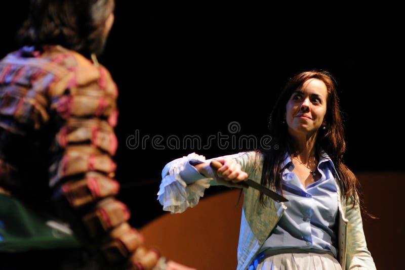 巴塞罗那剧院学院,在喜剧莎士比亚的戏剧的演员董事的 库存图片