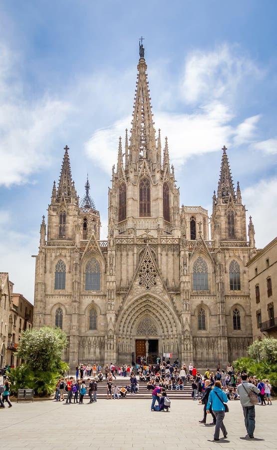 巴塞罗那哥特式大教堂门面,在西班牙 免版税库存照片