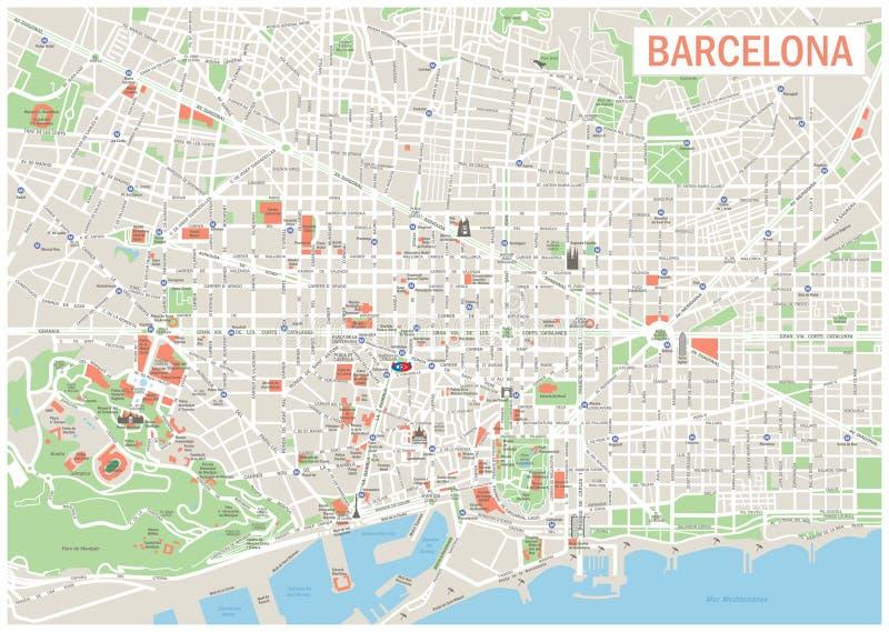 巴塞罗那地图 皇族释放例证