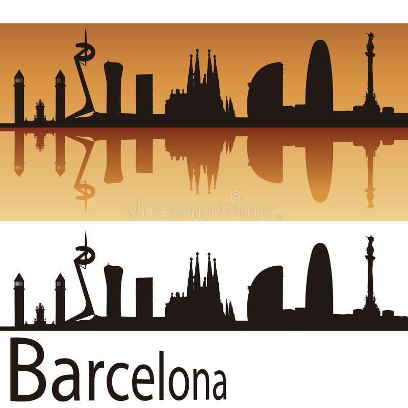 巴塞罗那地平线在橙色背景中 皇族释放例证