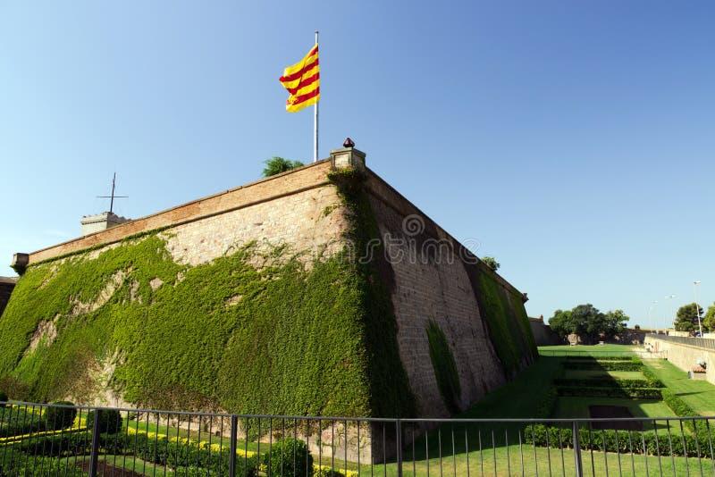 巴塞罗那堡垒卡斯特尔de Montjuic 图库摄影