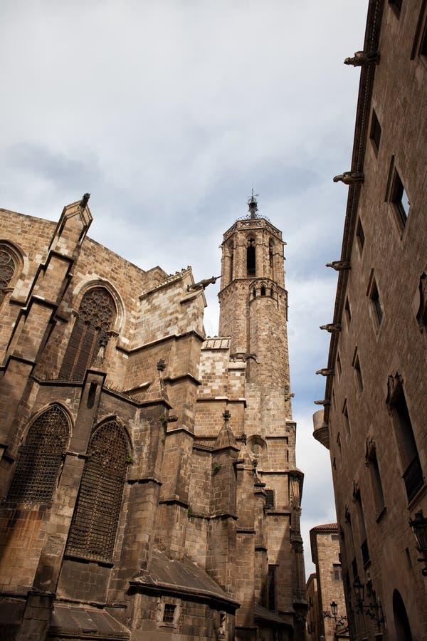 巴塞罗那大教堂的哥特式建筑 库存照片