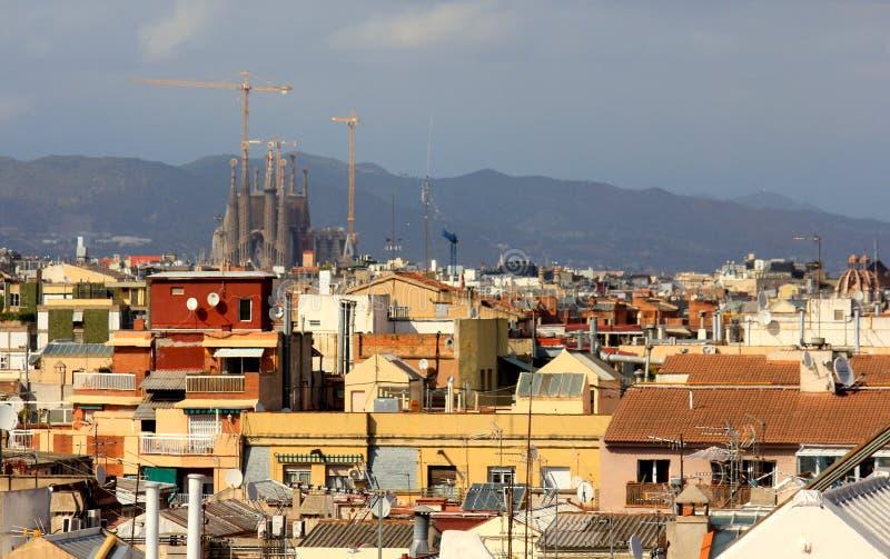 巴塞罗那屋顶,西班牙 免版税库存照片