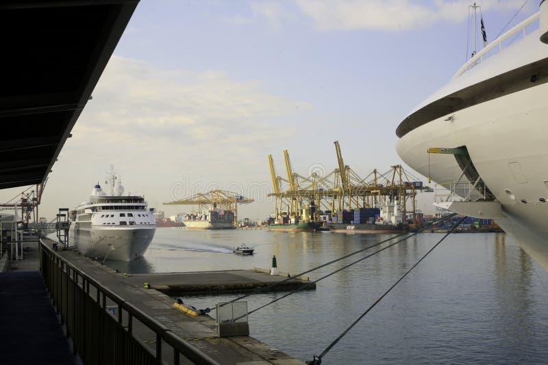 巴塞罗那港口,西班牙全视图  图库摄影