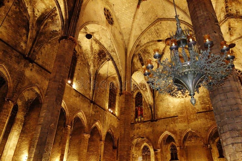 巴塞罗那的圣玛丽亚Del Mar大教堂 库存图片