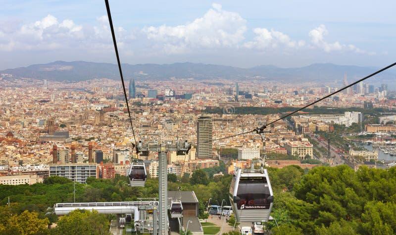 巴塞罗那看法从空中览绳的 库存照片