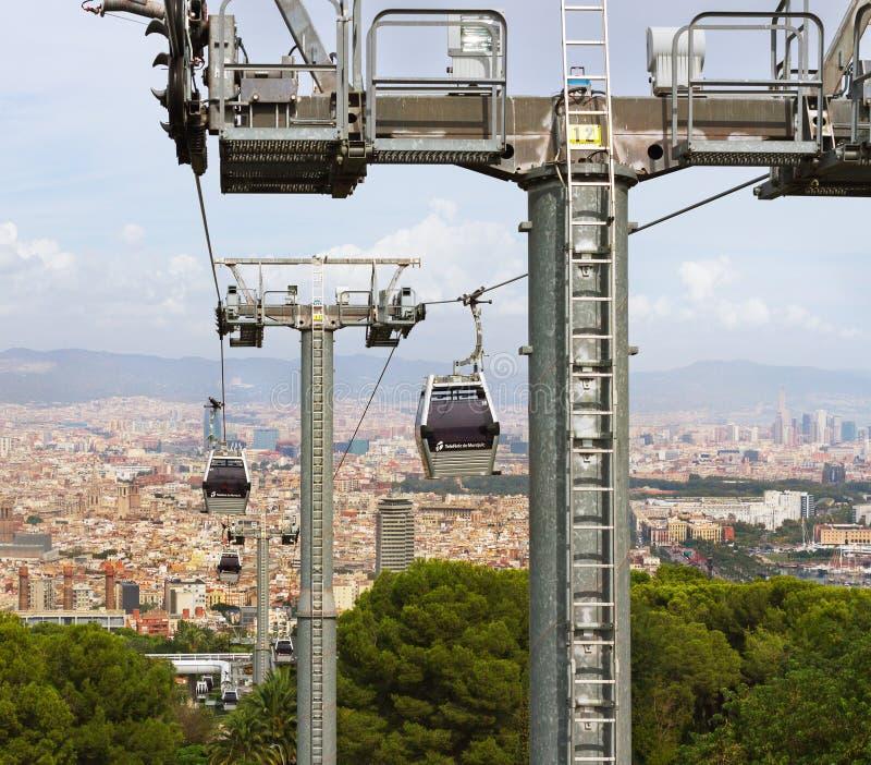 巴塞罗那看法从空中览绳的 图库摄影