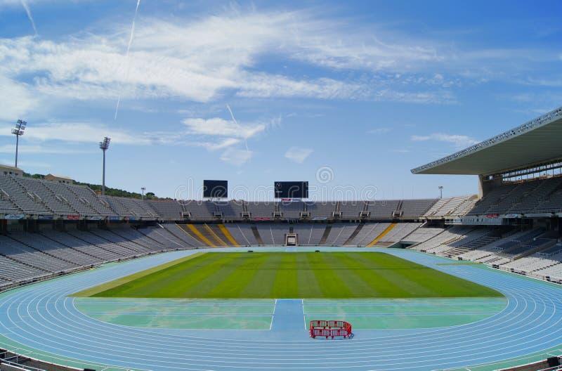 巴塞罗那空的montjuic奥林匹克体育场 图库摄影