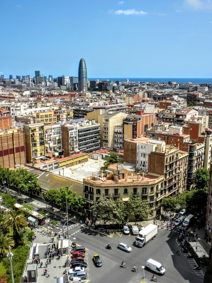 巴塞罗那西班牙-从拉萨格拉达Familia的看法 免版税库存图片