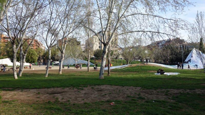 巴塞罗那西班牙 2017年3月27日- Ciutadella公园,美丽的da 免版税图库摄影