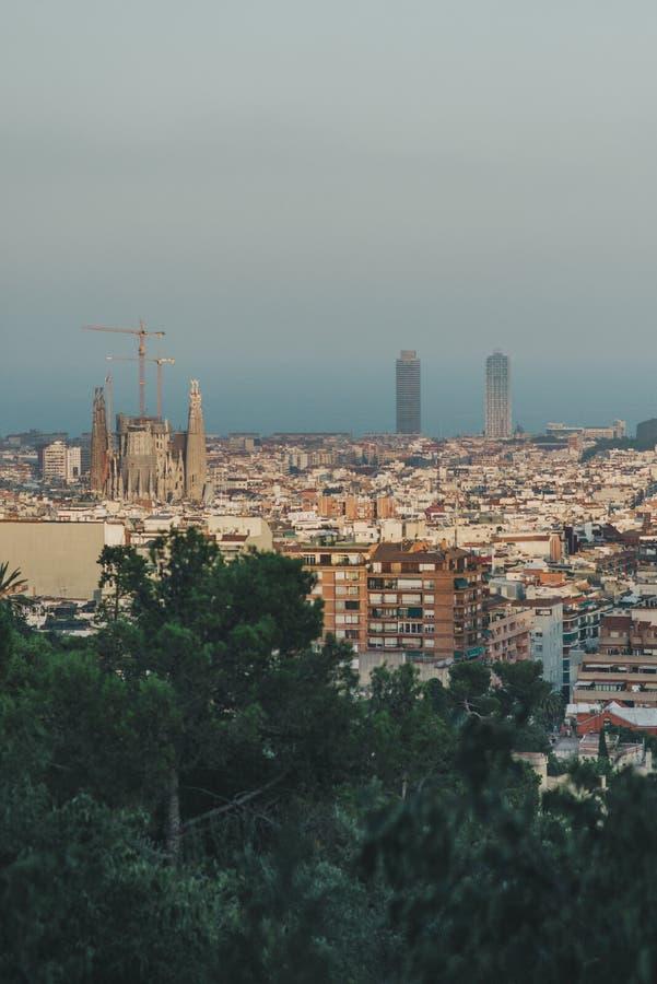 巴塞罗那视图, Sagrada Familia 免版税图库摄影
