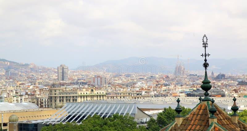 巴塞罗那鸟瞰图和Sagrada Familia 库存图片