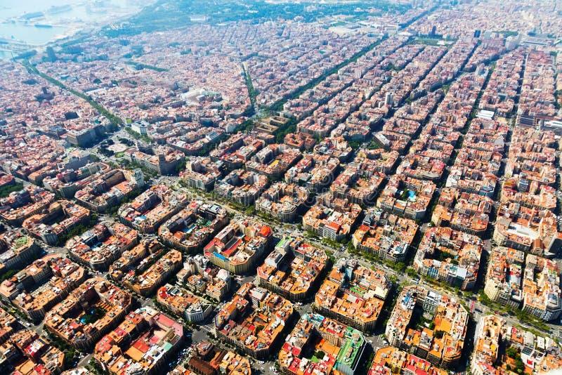 巴塞罗那,卡塔龙尼亚鸟瞰图  图库摄影
