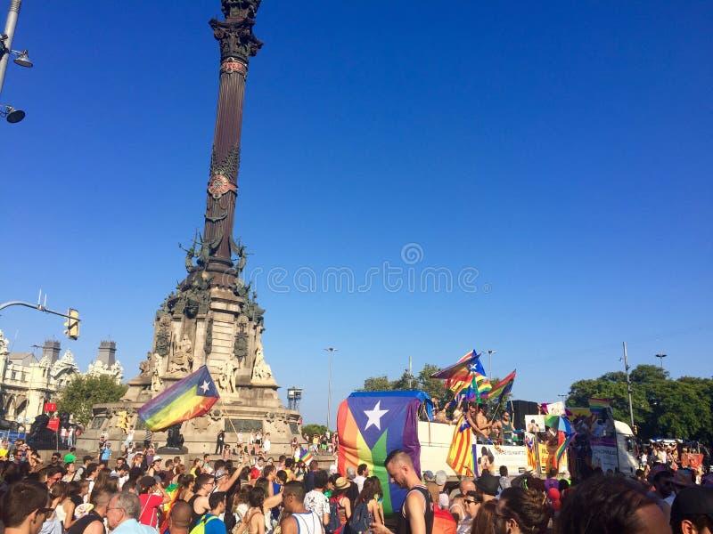 巴塞罗那,西班牙自豪感 库存图片
