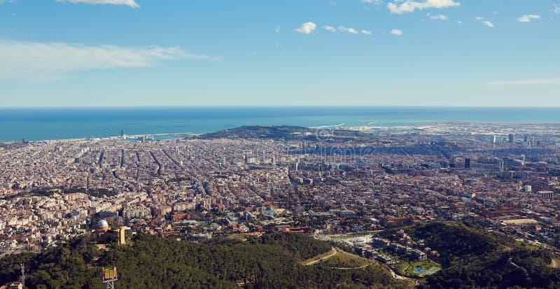 巴塞罗那,西班牙顶视图 免版税库存照片