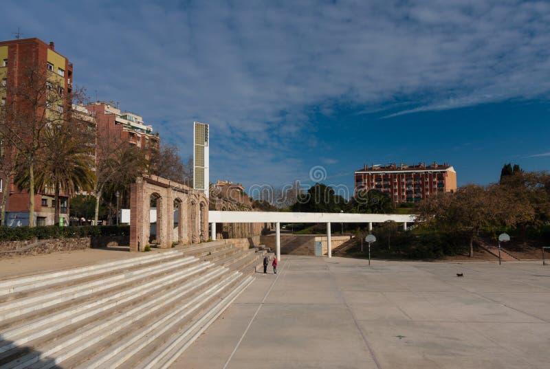 巴塞罗那,西班牙, 2月2016正方形Parc del Clot 免版税库存照片