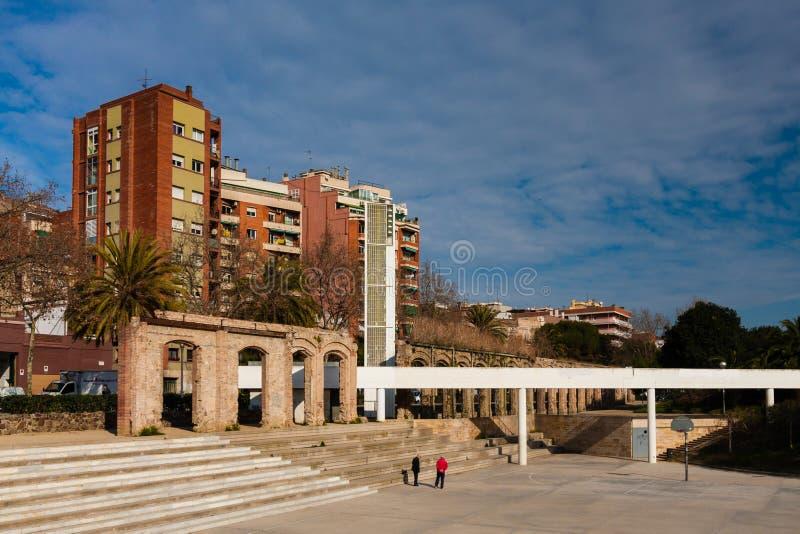 巴塞罗那,西班牙, 2月2016正方形Parc del Clot 库存照片