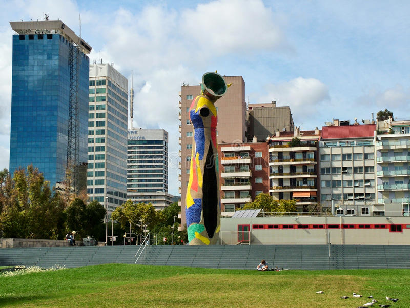 巴塞罗那,西班牙9月23日, 2015-The雕塑 库存照片