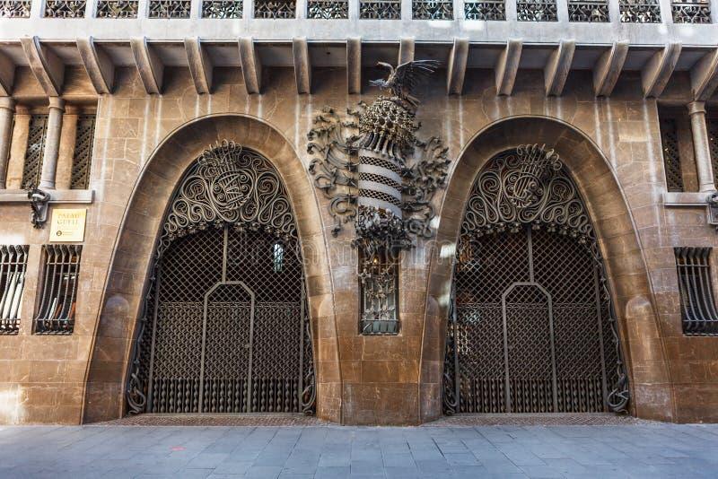 巴塞罗那,西班牙- 2016年4月18日:帕劳宫殿Guell 免版税库存照片