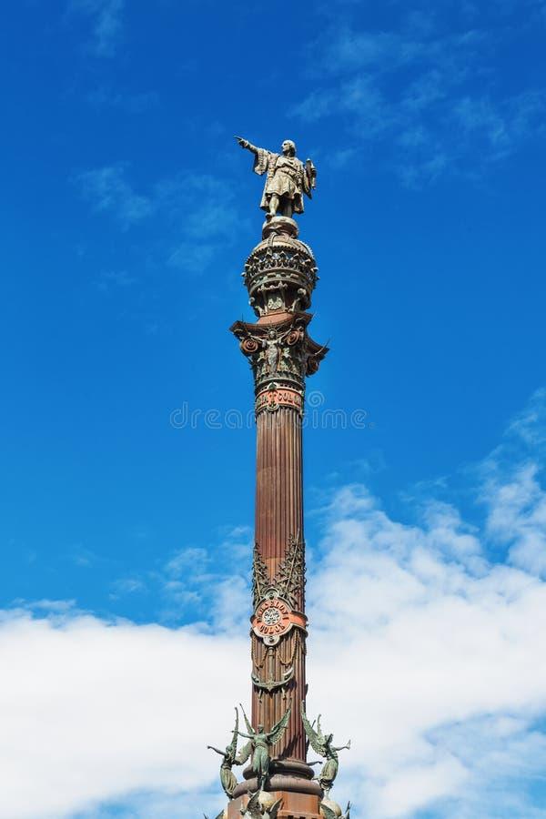 巴塞罗那,西班牙- 2016年4月17日:指向美国的克里斯托弗・哥伦布雕象 免版税库存照片