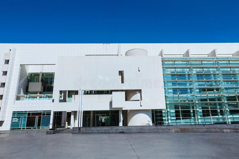 巴塞罗那,西班牙- 2016年4月18日:MACBA Museo De Arte Contemporaneo,当代艺术博物馆 图库摄影