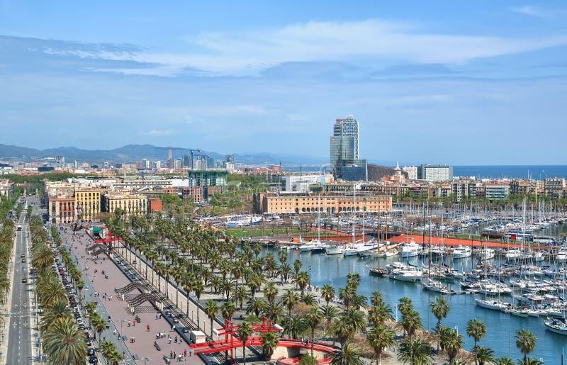 巴塞罗那全景在春天 免版税图库摄影