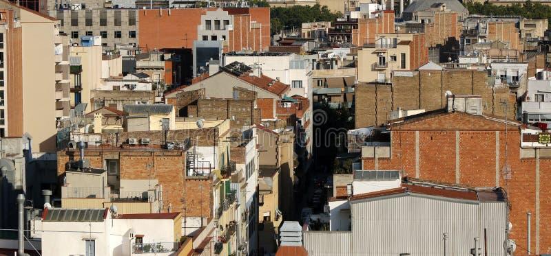巴塞罗那晴朗的屋顶细节 免版税库存照片