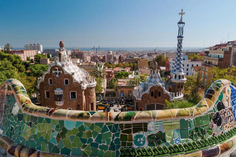 巴塞罗那guell公园西班牙 免版税图库摄影