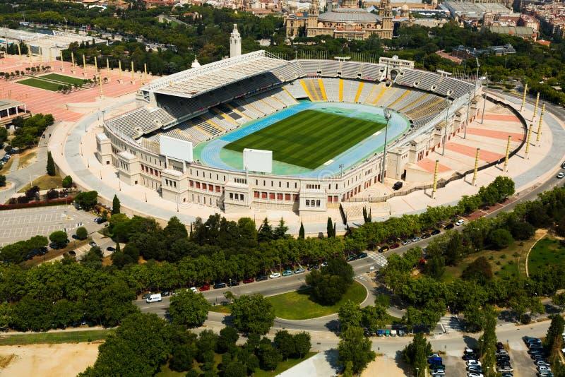 巴塞罗那Olimpic体育场鸟瞰图  库存照片