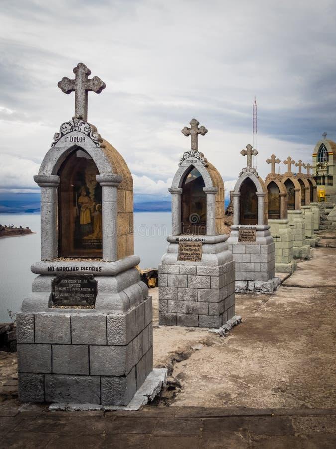 塞罗Calvario细节在科帕卡巴纳镇的喀喀湖在玻利维亚 免版税图库摄影
