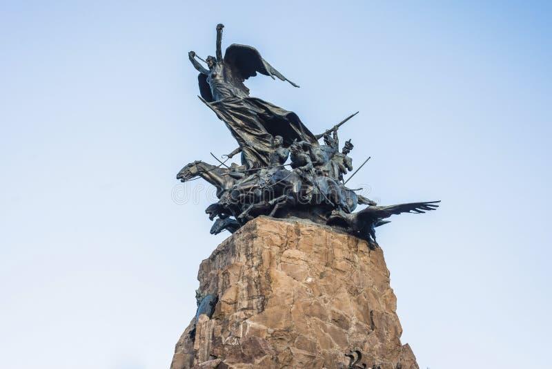 塞罗de la格洛里亚纪念碑在Mendoza,阿根廷 免版税图库摄影