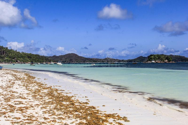 塞舌尔普拉兰岛昂斯市Volbert海滩 库存照片