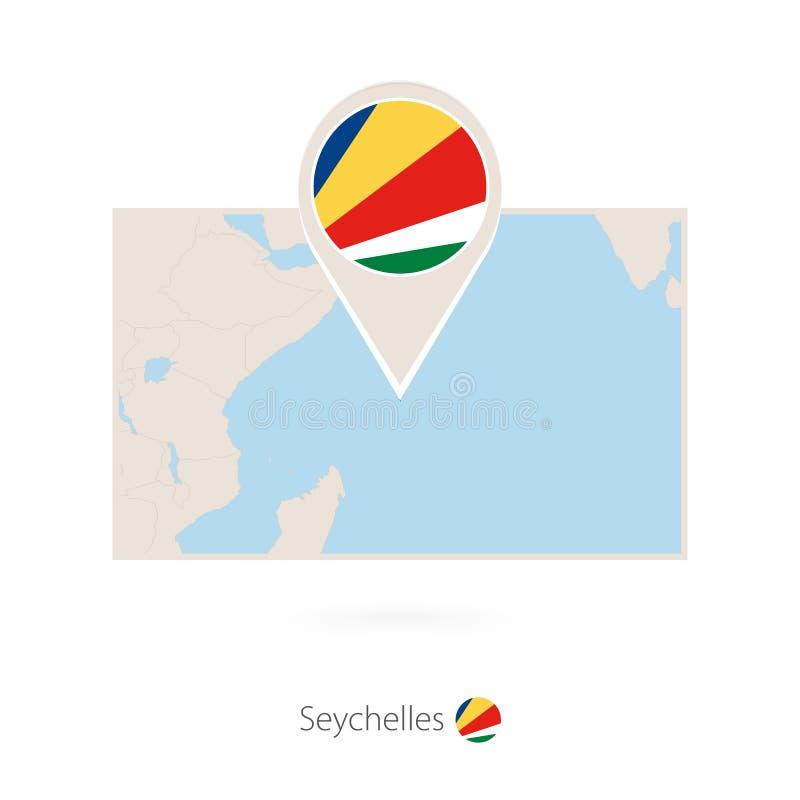 塞舌尔的长方形地图有塞舌尔的别针象的 库存例证