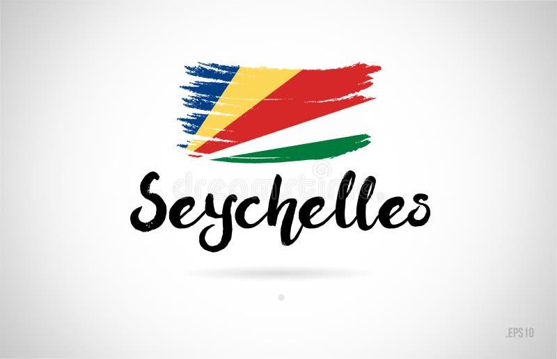 塞舌尔群岛与难看的东西设计象商标的国旗概念 皇族释放例证