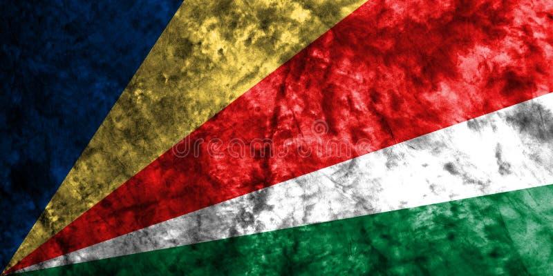 塞舌尔群岛在老肮脏的墙壁上的难看的东西旗子 向量例证