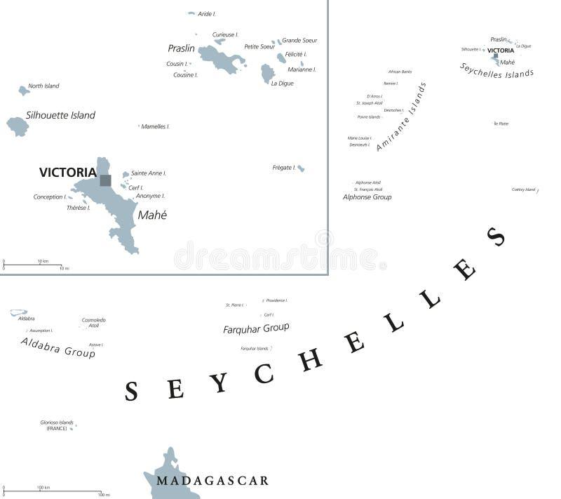 塞舌尔群岛政治地图 皇族释放例证