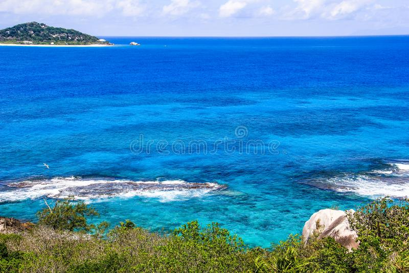 塞舌尔群岛普拉兰岛表兄弟海岛 库存图片