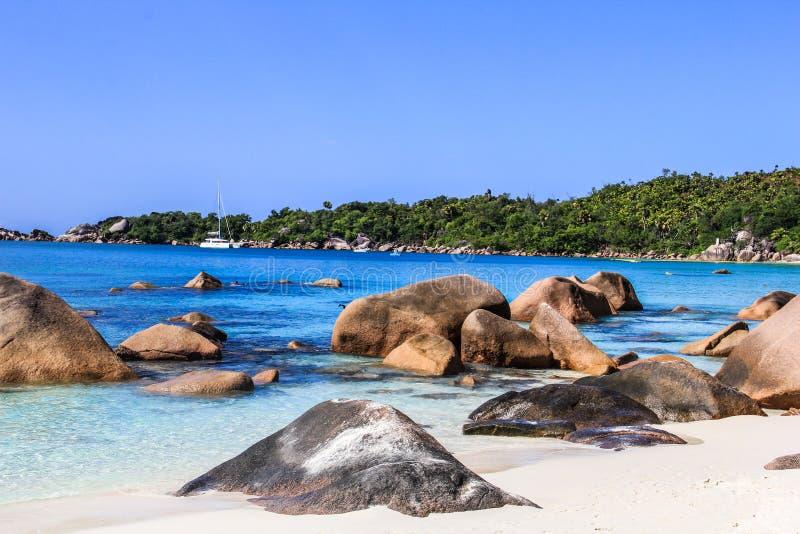 塞舌尔群岛普拉兰岛Anse拉齐奥海滩 免版税库存图片