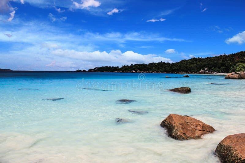 塞舌尔群岛普拉兰岛Anse拉齐奥海滩 图库摄影