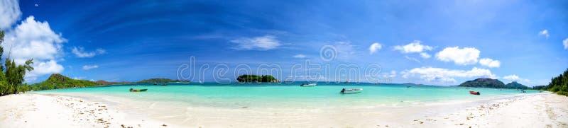 塞舌尔群岛海滩全景 库存图片