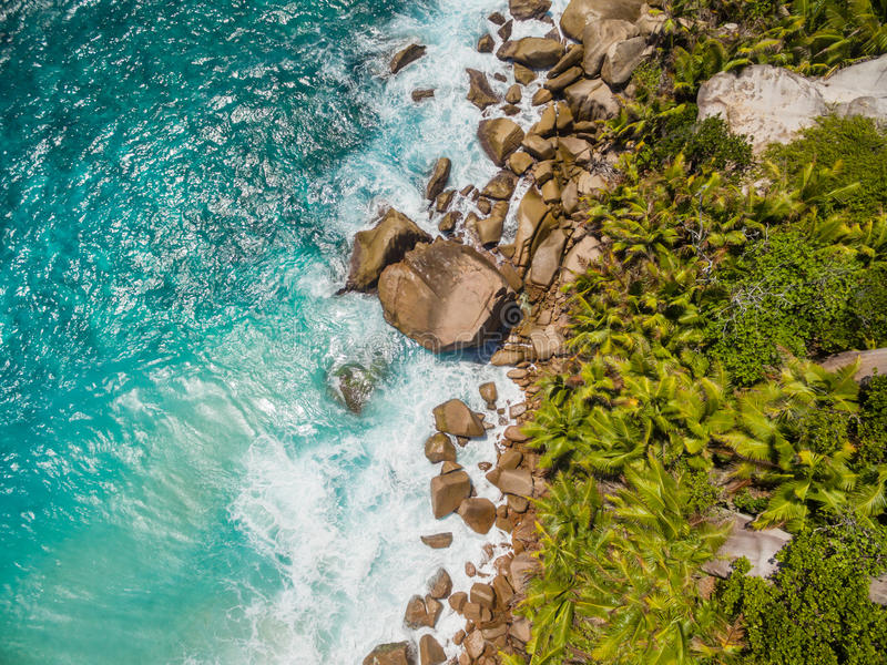 塞舌尔群岛海滩空中照片在拉迪格岛的 图库摄影