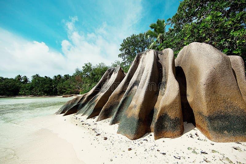 塞舌尔群岛 黑石头,山 热带和棕榈树 库存照片