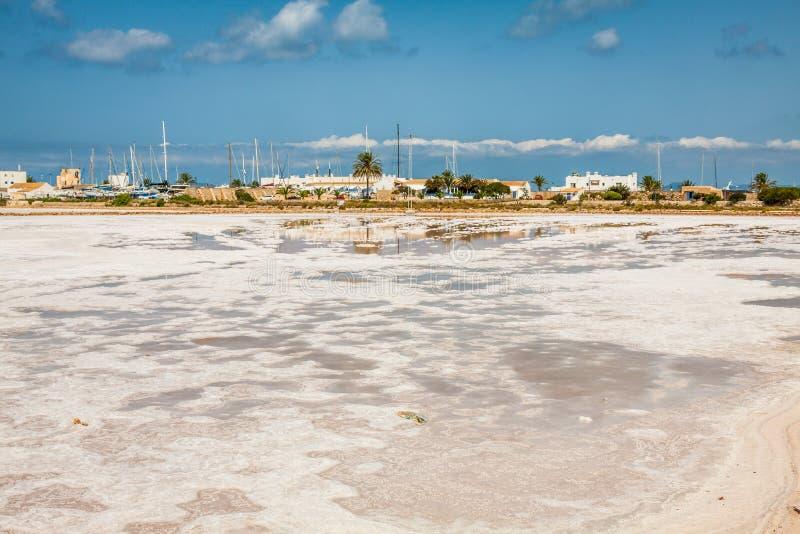 塞萨利内斯福门特拉岛盐厂天际巴利阿里群岛 图库摄影