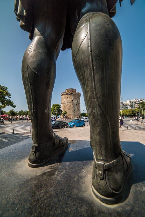 塞萨罗尼基,希腊白色塔  库存图片