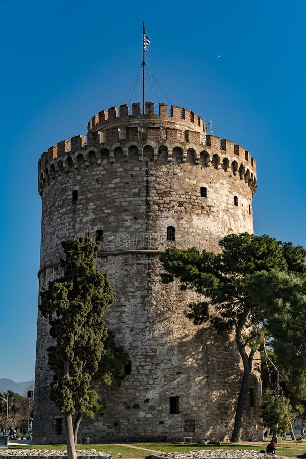 塞萨罗尼基,希腊,欧洲白色塔  库存图片