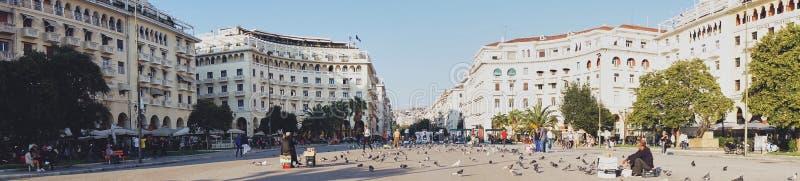 塞萨罗尼基,希腊- 9月28 :Aristotelous广场, Thessa 图库摄影