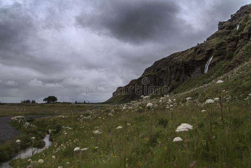塞里雅兰瀑布在夏天,冰岛 免版税库存照片