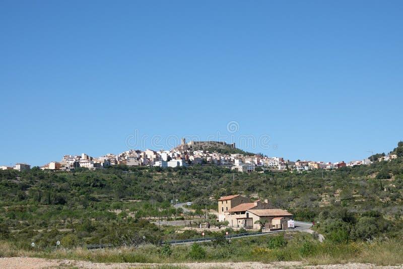 塞韦拉del马埃斯特腊山镇在卡斯特利翁省,巴伦西亚西班牙 免版税库存图片