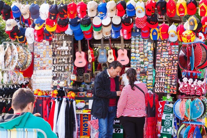 塞维利亚纪念品临近Plaza de西班牙 图库摄影