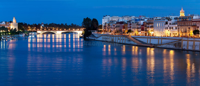 塞维利亚,瓜达尔基维尔河河,西班牙的堤防 免版税库存图片